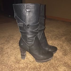 Black Leather Ugg heeled boots